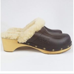 UGG Sheep Fur Leather Wooden Clogs